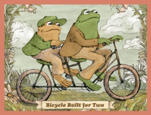 Frog and Toad on a bicycle built for two